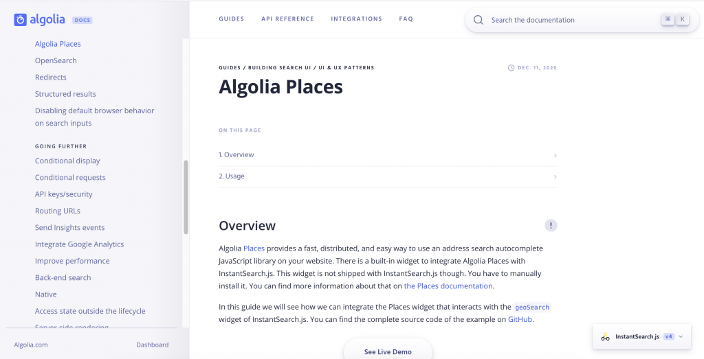 Algolia Places captured by ICTS